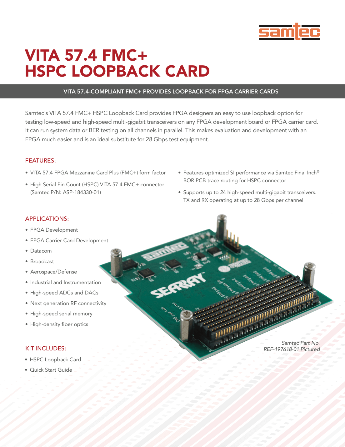 Fmc Hspc Loopback Card Samtec Multi Gigabit Serial Link Analysis Product Brief